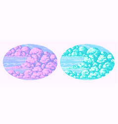 Pixel art clouds 8 bit objects pink magic sky vector