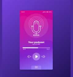 Podcast app mobile ui design vector