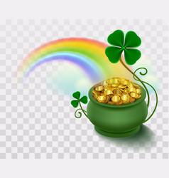 Rainbow green leaf lucky clover and pot full of vector