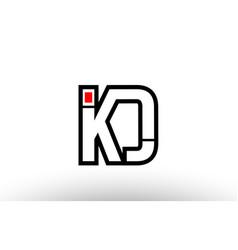 red and black alphabet letter kd k d logo vector image