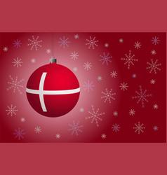 Red christmas ball with flag denmark vector
