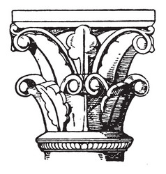romanesque capital an architectural style of vector image