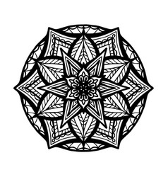 Round boho black mandala on white isolated vector