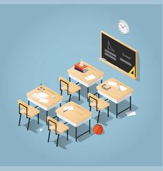 school classroom isometric vector image