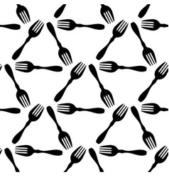 seamless pattern cooking black fork wrapping vector image