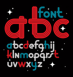 Set of rounded lower case funky english alphabet vector