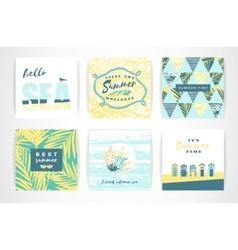 set summer cards with hand-drawing elements vector image