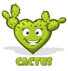 smiley cactus in the shape of heart vector image