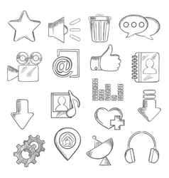 Social media and multimedia icons sketch style vector image