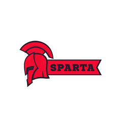Spartan helmet with ribbon logo elements vector