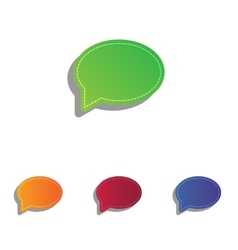 Speech bubble icon Colorfull applique icons set vector image