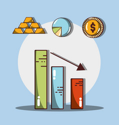 statistics with arrow down and gold with coin vector image