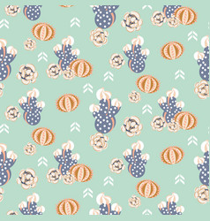 Succulent retro colors seamless pattern vector