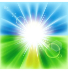 Summer abstract background with sunbeams vector image