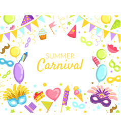 Summer carnival banner template bright vector