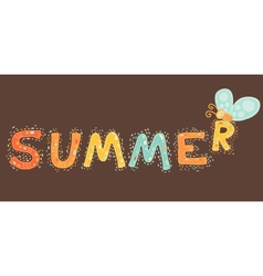 summer cartoon text with butterfly vector image
