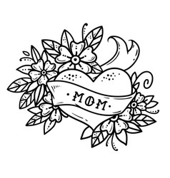 Tattoo heart with ribbonflowers and lettering mom vector