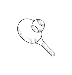 Tennis racket and ball sketch icon vector image