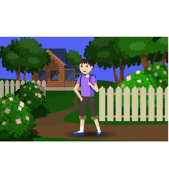 the boy is going on vacation to the village vector image