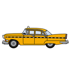 The old american yellow taxi vector
