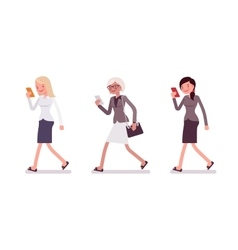 Three men are walking holding a smartphone vector