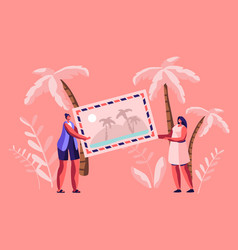 tiny women characters holding huge photo or vector image