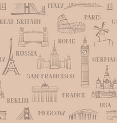 travel seamless pattern vacation background world vector image