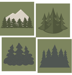 tree outdoor travel pine silhouette coniferous vector image