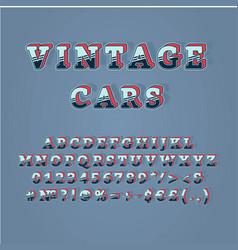 Vintage cars header 3d alphabet set vector
