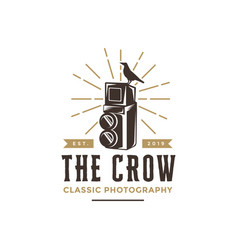 vintage hipster old camera and bird logo icon vector image