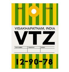 Visakhapatnam airport luggage tag vector