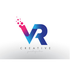 Vr letter design with creative dots bubble vector