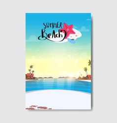 waters villas hotel palm tree sunrise beach badge vector image