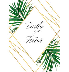 Wedding tropical forest invitation card design vector