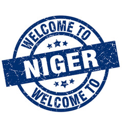 Welcome to niger blue stamp vector
