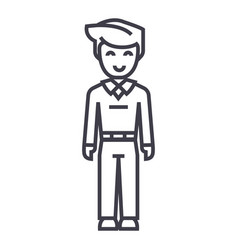 youg man standingstudent line icon sign vector image