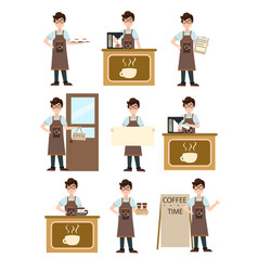 young barista prepares coffee at the counter with vector image