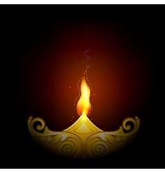 Decorated Diya for Happy Diwali vector image