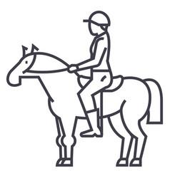 horse racingriderhorsemanjockey line vector image