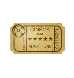 Vintage cinema ticket with grunge vector image