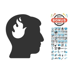 Brain Fire Icon With 2017 Year Bonus Symbols vector image