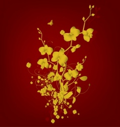 golden vintage with orchids vector image vector image