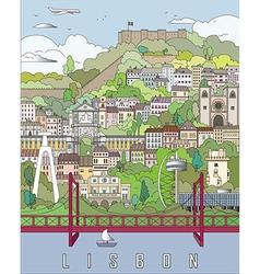 Lisbon City Poster vector image