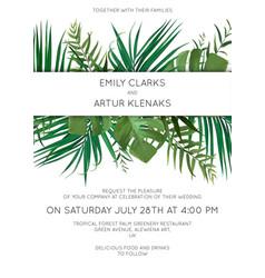 wedding tropical leaves invitation card design vector image