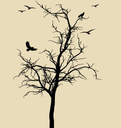 black tree with birds vector image vector image