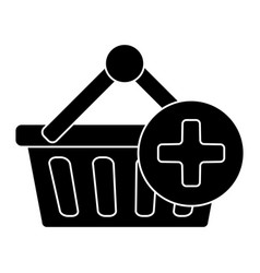 cart shopping plus icon vector image vector image
