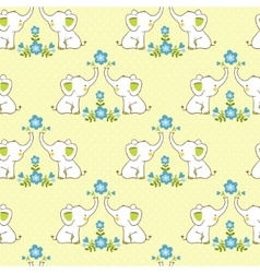 Cute floral seamless pattern with elephants vector image vector image