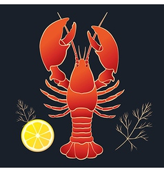 Lobster with lemon and dill vector image vector image