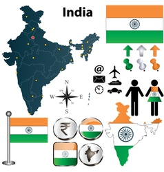 Map of India vector image vector image