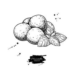 mozzarella cheese drawing hand drawn baby vector image vector image